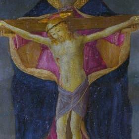 Trinità, nel tondo in basso Natività